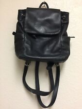 Leather Co By Liz Claiborne Black Soft  Pebble Leather Back Pack Bag Purse Tote