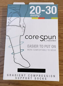 Core Spun Gradient Black Compression Support Socks Size Medium Black 20-30 mmHg