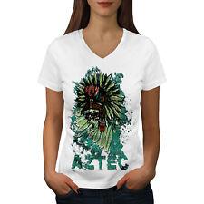 Wellcoda Aztec Skeleton Cool Womens V-Neck T-shirt, Chief Graphic Design Tee
