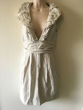 CUE: Cream Ruffle Cocktail Ball Formal Dress, Size 8