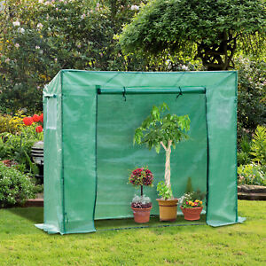 Outsunny Tomato Greenhouse Vegetables Grow Tent Zipper 198L x 77W x 149-168H cm