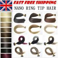 "7A 1G 22""-24'' Double Drawn Nano Ring Tip Micro Beads Human Hair Extensions UK"