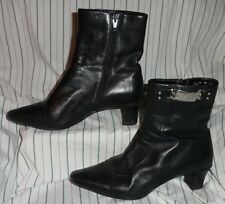 7.5 M Ladies Womens Apostrophe Peyton Boots Black Ankle Zip Leather Metal Décor