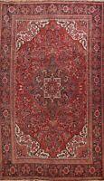 Antique Geometric Heriz Traditional RED Area Rug Handmade Oriental 8'x11' Carpet