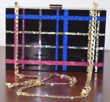 Les Petits Joueurs Black Glitter Resin Hard Shell Clutch Handbag