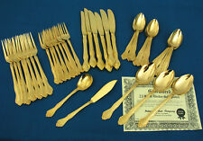 NATIONAL SILVER - LARCHMONT - 41 PIECES - 23 K ELECTRO GOLD PLATED FLATWARE