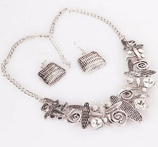 Crystal Ethnic ancient Silve Chunky Geometry Bib Statement Necklaces Earring Set
