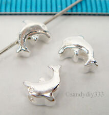 4 x BRIGHT STERLING SILVER DOLPHIN SPACER BEADS 7.1mm #511