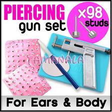 Professional Ear Nose Navel Body PIERCING GUN Tool Kit set jewelry 98 studs HOT