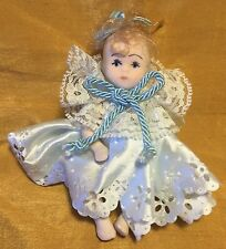 "Vtg 4.25"" Bisque Porcelain Doll w Movable Arms / Legs Painted Face - Lace Collar"