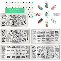 NICOLE DIARY Nail Art Image Stamping Plates Birds Trees Flowers Template Tools
