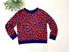 Marc by Marc Jacobs Lita Cheetah Pullover Sweater Carpathian Blue Multi Women S