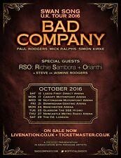 "BAD COMPANY / RICHIE SAMBORA /ORIANTHI ""SWAN SONG U.K. TOUR"" 2016 CONCERT POSTER"