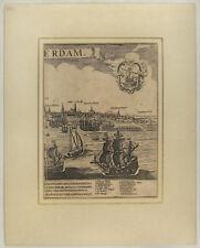 AMSTERDAM Niederlande Original Kupferstich um 1620 Segelschiffe HAFEN Holland