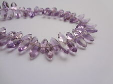 4x8mm Amethyst Micro Faceted Marquise Briolette Gemstone Beads - 10pcs