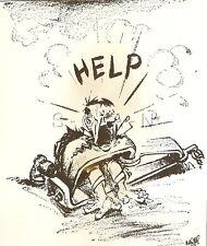 WWII Original 1944 Anti Axis Propaganda Art Cartoon Large RP- Bear Trap- Help!