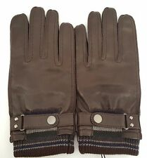 Paul Smith Leather Gloves Brown Mens Large Rib Cuff