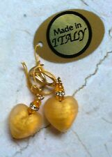 Translucent Gold Murano Glass Heart Earrings