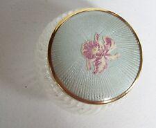 Vintage Vanity Powder Jar - Iris Flower Enamel Top