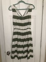 Womens BANANA REPUBLIC Heritage Green White Stripe Casual Belted Dress Sz 6