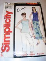 WOMENS CUT SIMPLICITY Sewing Pattern 9179 SKIRT CAPRI PANTS KNIT TANK SIZE XS-XL