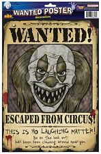 """2 WANTED CLOWN PAPER POSTERS 15""""x11"""" Wall Sign Escaped Circus Scary Evil Killer"""