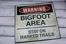 WARNING BIGFOOT AREA STAY ON MARKED TRAIL Embossed Sasquatch Metal Sign