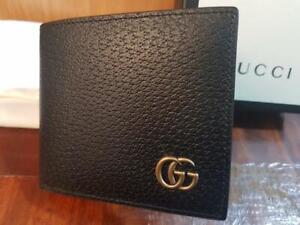 Gucci Men's Black Marmont GG Leather Bifold Wallet - Card Wallet