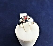 SOLID STERLING SILVER SOLITAIRE RING RED AFRICAN GARNET 4.0mm round 5.2gr.
