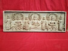 Tibetan Buddha Antique Wall Panel Wooden Buddhism Hand Carved Budha Home Decor