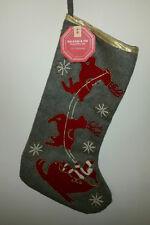 "1 Balsam & Fir Christmas Stocking Gray w/Red Santa Claus Sled & Reindeer 22"" Nwt"
