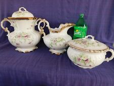 Antique W H Grindley & Co 3 piece CHAMBER SET Water Bucket, Pitcher & Pot