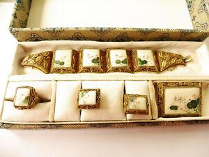 Antikes Schmuckset 4tlg. Silber vergoldet filligran Email Miniaturmalerei ETUI