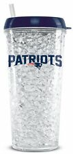 New England Patriots Crystal Freezer Tumbler with Straw - 16oz [NEW] NFL Cup Mug