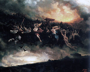 Germanic Viking Norse Pagan God Odin Sky War Painting 8x10 Canvas Art Print
