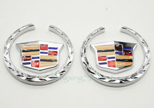 1Pair Metal Car Side Emblem Badge Sticker Logo Accessories Fits for Cadillac