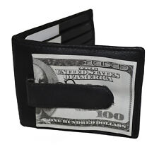 MONEY CLIP METAL TWO FOLD CREDIT CARD SLOTS BLACK LEATHER NEW FREE SHIPPING
