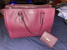 Large Kate Spade Purse With Matching Wallet Merlot/Burgundy