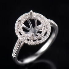 Solid 14K White Gold Natural Diamond Halo Semi Mount Prong Ring Set Oval 7x9mm