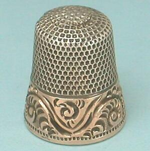 Antique Gold Band Sterling Silver Thimble by Ketcham & McDougall * Circa 1890s