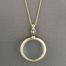 Antique Gold Chain Magnifying Glass Design Pendant Necklace