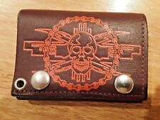skull wallet brown leather with snaps made in USA