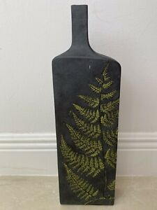 Tall Elegant Contemporary Charcoal Black Unglazed Ceramic Fern Imprint Vase