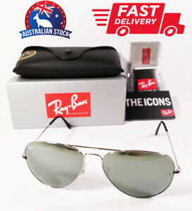Ray-Ban Aviator Sunglasses Silver Frame Silver Mirror Lenses RB 3025 58mm