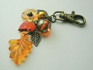 BAG CHARM Orange Glass Howlite Acrylic Bead LEAF Berry Flower  Bronze KCJ4045