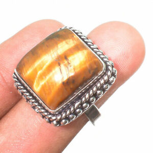 925 Sterling Silver Tigers'S Eye Gemstone Jewelry Ring Size- 6