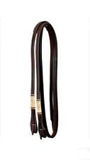 Western Dark Oil Leather Rawhide Braided Split Reins with Quick Release
