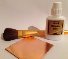 30ml Metal Leaf Glue Adhesive, 25 Copper Leaf Sheets, Brush. Christmas Craft Kit