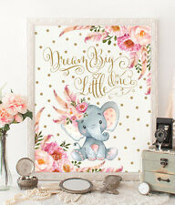 A4 Boho Elephant Nursery Print Pink Gold Floral Confetti Baby Shower UNFRAMED