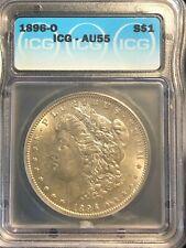 1896-O Morgan Silver Dollar AU 55 Bright White Luster New Orleans Mint